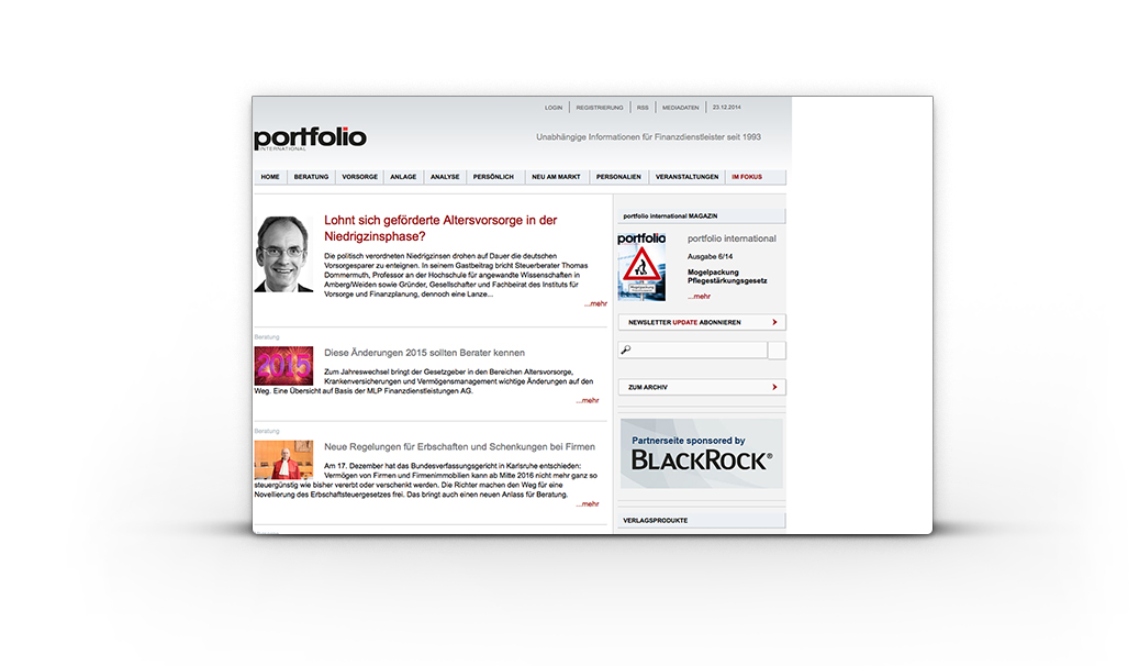 Portfolio International - TYPO3 Website